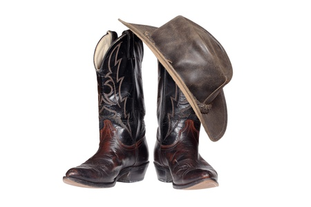 Cowboy boots and hat isolated with clipping path Stock Photo - 17301260