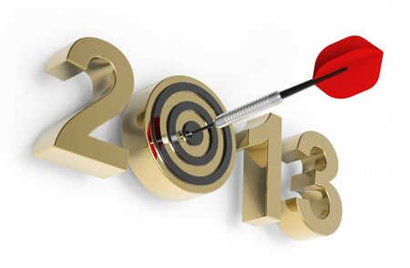 Dart hitting target - New Year 2013 isolated on white. Computer generated 3D photo rendering. photo