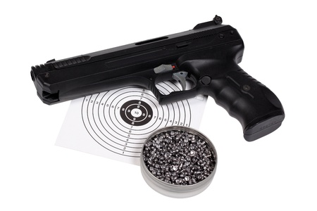 Target shooting equipment isolated over white with clipping path  photo