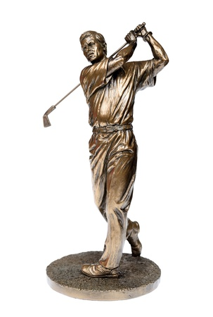 Bronze golfer statue isolated on white with clipping path  Foto de archivo