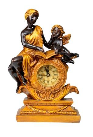 reloj antiguo: Reloj antiguo, las doce menos Aislado sobre blanco con trazado de recorte Foto de archivo