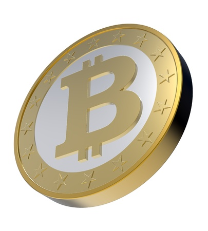 Bitcoin isoliert auf weiß. Computer generierte 3D-Rendering-Foto