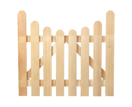 Wooden fence isolated on white with clipping path. It can be replicated left and right. photo