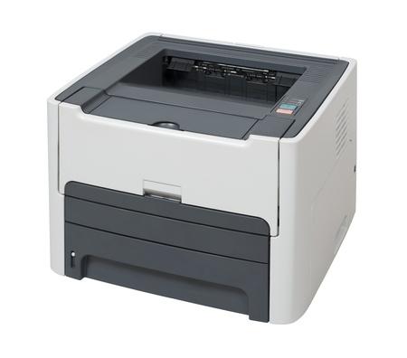 impresora: Impresora l�ser aislado en blanco con saturaci�n camino