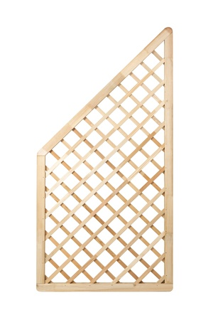 Wooden lattice fence panel on white background with clipping path   It can be replicated left and right
