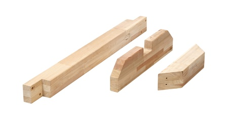 Wooden blocks isolated on white background with clipping path  photo