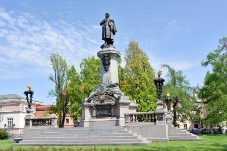 krakowskie przedmiescie: Monument of the most famous Polish poet - Adam Mickiewicz at Krakowskie Przedmiescie Street in Warsaw, Poland