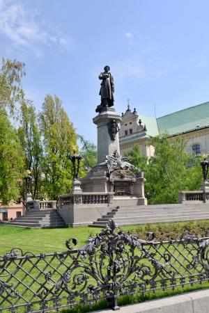 mickiewicz: Monument of the most famous Polish poet - Adam Mickiewicz at Krakowskie Przedmiescie Street in Warsaw, Poland