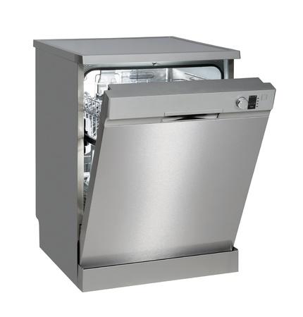 lavaplatos: Moderno independiente lavavajillas aislado en blanco con trazado de recorte Foto de archivo