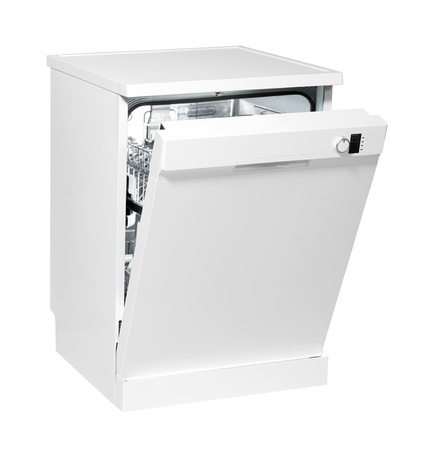 Modern freestanding dishwasher isolated on white with clipping path