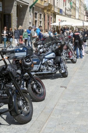 WROCLAW, POLAND - MAY 18: View of Harley Davidson motorcycle parked in the city during 'Harley-Davidson Super Rally 2013' on May 18, 2013 in Wroclaw, Poland. Europe