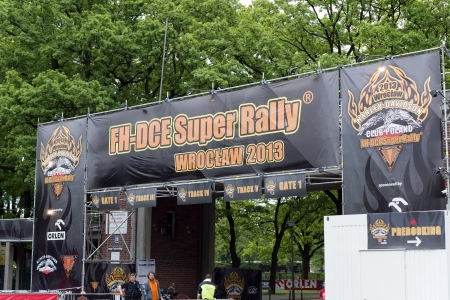 Wroclaw, Poland. Saturday 18th May 2013. Entrance to the campsite 'Harley-Davidson Super Rally 2013'