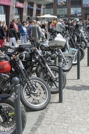 Wroclaw, Poland. Saturday 18th May 2013. View of Harley Davidson motorcycle parked in the city during 'Harley-Davidson Super Rally 2013'