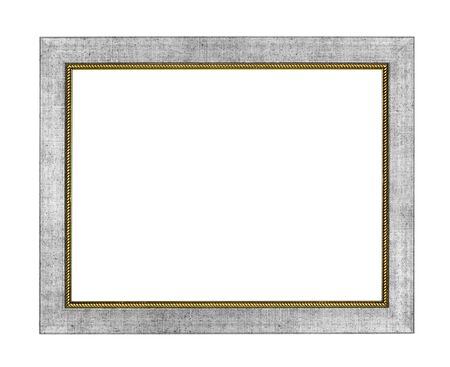 Silver arts pattern picture frame isolated on white with clipping path photo