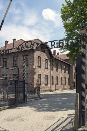 oswiecim: OSWIECIM - MAY 26: Gate at the entrance of in the concentration camp in Oswiecim, Poland on May 26, 2013. Oswiecim was the largest German concentration camp on Polish territory during World War II.