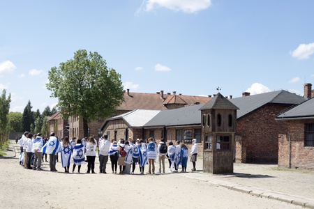concentration camp: OSWIECIM - MAY 26: Jewish youth group visits the concentration camp in Oswiecim, Poland on May 26, 2013. Oswiecim was the largest German concentration camp on Polish territory during World War II. Editorial