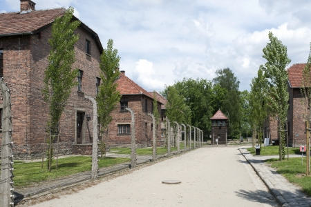 OSWIECIM - MAY 26: Buildings in the former German concentration camp in Oswiecim, Poland on May 26, 2013. Oswiecim was the largest German concentration camp on Polish territory during World War II.
