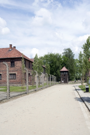 concentration camp: OSWIECIM - MAY 26: Buildings in the former German concentration camp in Oswiecim, Poland on May 26, 2013. Oswiecim was the largest German concentration camp on Polish territory during World War II. Editorial