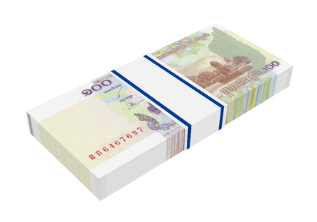 riel: Cambodian money isolated on white background  Computer generated 3D photo rendering