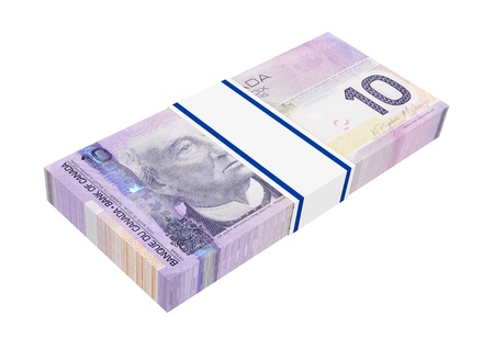 Canadian money isolated on white background  Computer generated 3D photo rendering  photo