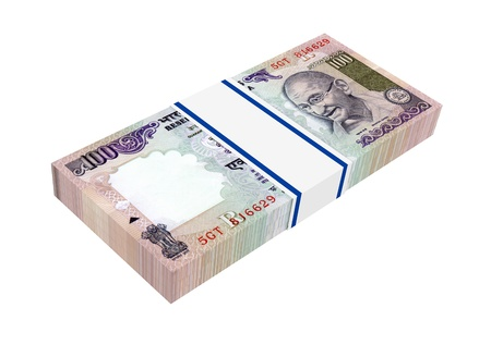 packaged: India Rupee isolated on white background. Computer generated 3D photo rendering. Stock Photo