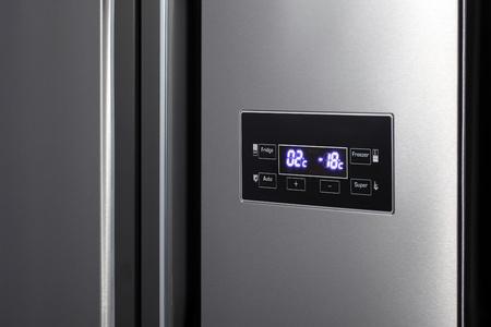 Detail of side-by-side steel refrigerator