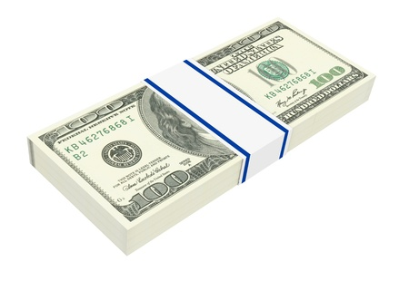 Dollars money isolated on white background  Computer generated 3D photo rendering  photo