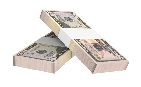 packaged: Dollars money isolated on white background  Computer generated 3D photo rendering  Stock Photo