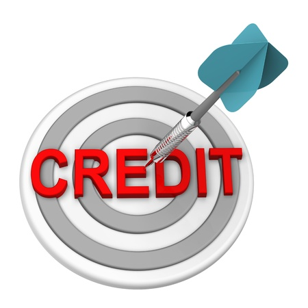 credit report: Blue dart on the target with credit text on it  Computer generated 3D photo rendering  Stock Photo