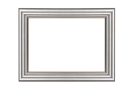 Silver frame isolated on white background with clipping path photo