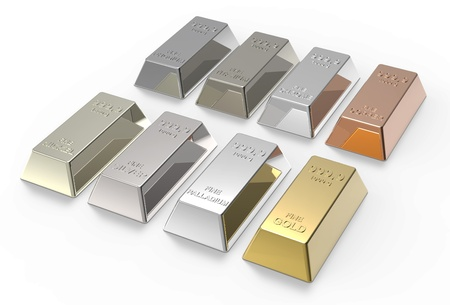 Set of valuable metals ingots isolated on white  3D rendering