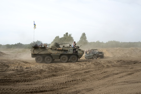 At the X International meeting of military vehicles  TRACKS AND HORSESHOE  in Borne Sulinowo, Poland on August 16, 2013  Stock Photo - 21838840