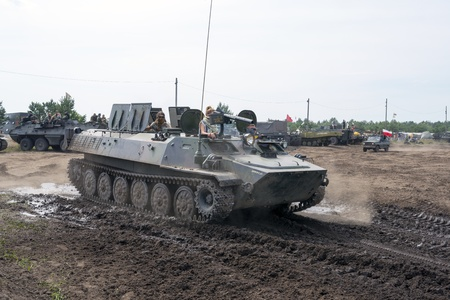 At the X International meeting of military vehicles  TRACKS AND HORSESHOE  in Borne Sulinowo, Poland on August 16, 2013  Stock Photo - 21838842