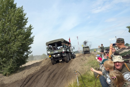 At the X International meeting of military vehicles  TRACKS AND HORSESHOE  in Borne Sulinowo, Poland on August 16, 2013  Stock Photo - 21838843