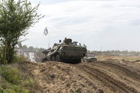 At the X International meeting of military vehicles  TRACKS AND HORSESHOE  in Borne Sulinowo, Poland on August 16, 2013  Stock Photo - 21838848