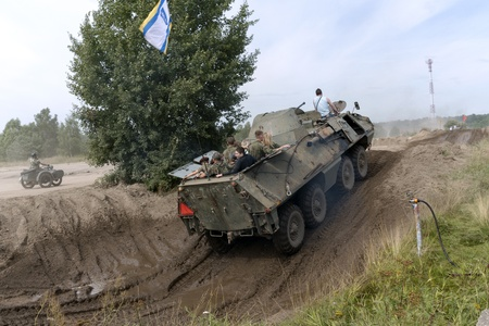 At the X International meeting of military vehicles  TRACKS AND HORSESHOE  in Borne Sulinowo, Poland on August 16, 2013  Stock Photo - 21838849