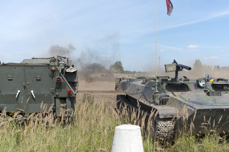 At the X International meeting of military vehicles  TRACKS AND HORSESHOE  in Borne Sulinowo, Poland on August 16, 2013  Stock Photo - 21840380