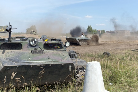 At the X International meeting of military vehicles  TRACKS AND HORSESHOE  in Borne Sulinowo, Poland on August 16, 2013  Stock Photo - 21840381