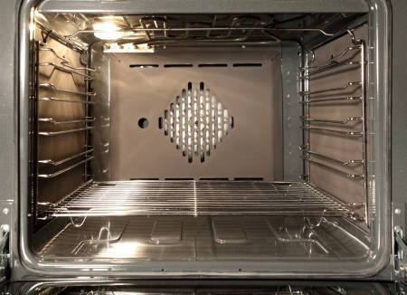 oven range: The inside of a stove oven Stock Photo
