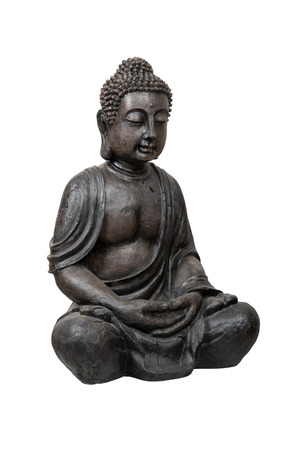 Bronze buddha statue isolated over white with clipping path photo