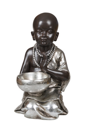 Black young buddha isolated over white with clipping path photo