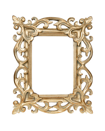 Gold carved picture frame isolated over white with clipping path  photo