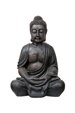 buddhists: Bronze buddha statue isolated over white with clipping path