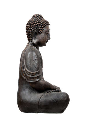Bronze buddha statue isolated over white photo