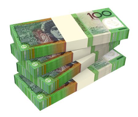 packaged: Australian dollar isolated on white background  Computer generated 3D photo rendering