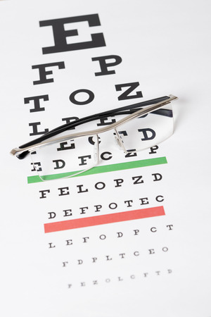 Eyeglasses on the eye chart photo