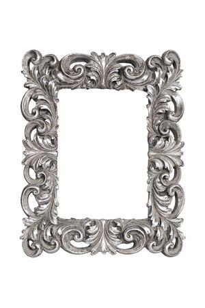 Silber geschnitzte Bilderrahmen isoliert über weiß mit Clipping-Pfad Lizenzfreie Bilder