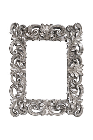 Silver carved picture frame isolated over white with clipping path