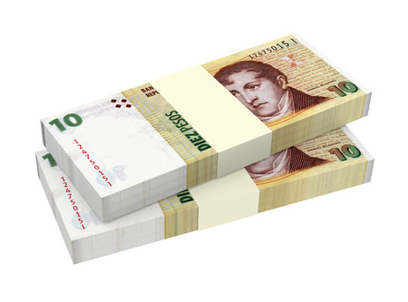 Argentina pesos isolated on white background  Computer generated 3D photo rendering Stock Photo - 24882637