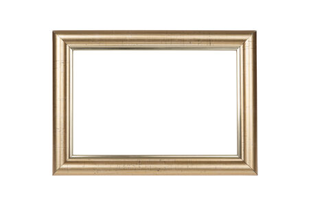 Gold frame isolated on white background with clipping path photo